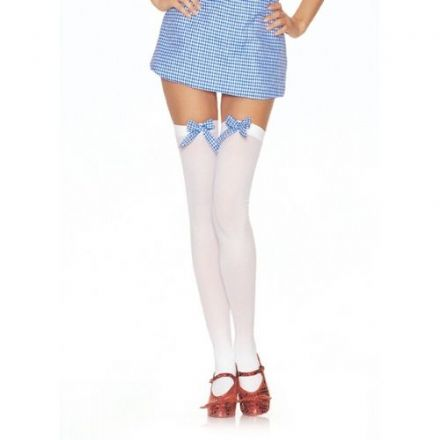 Opaque Thigh High Stockings with Gingham Bow